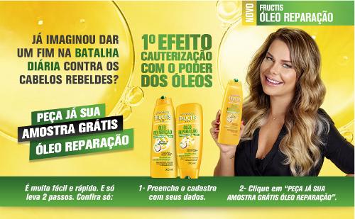 amostra gratis garnier fructis oleo reparacao
