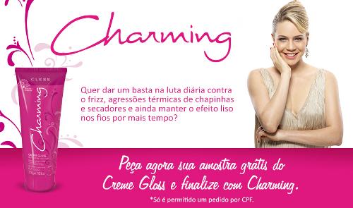 amostra gratis charming gloss cosmeticos